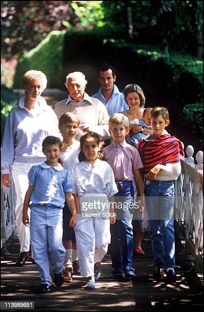 Closeup Giovanni Agnelli and family In Turin Italy On July 16 1986Eduardo Agnelli on Mr Agnelli's left