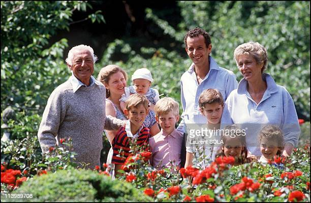 Closeup Giovanni Agnelli and family In Turin Italy On July 16 1986Eduardo Agnelli on Mrs Agnelli's right