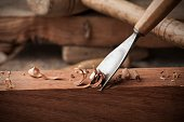 closeup gouge for wood on carpenter workbench