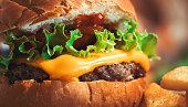 Close-up Hamburger with fast food