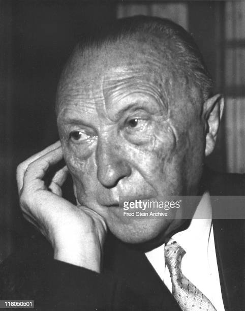 Closeup headshot of German Chancellor Konrad Adenauer New York New York 1958