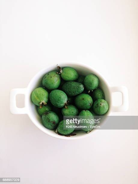 Close-Up High Angle View Of Feijoa In Bowl