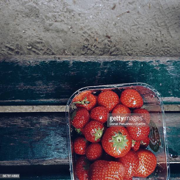Close-Up High Angle View Of Strawberries
