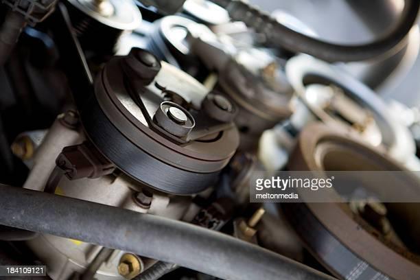 A close-up image of a car engine