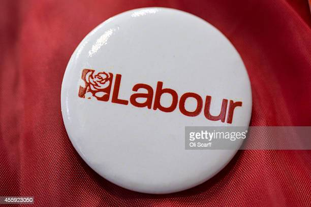 A closeup image of a pin badge bearing the logo for the Labour Party for sale at the Labour Party Conference on September 22 2014 in Manchester...