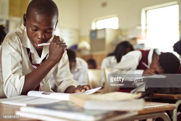 Closeup image of South African boy studying