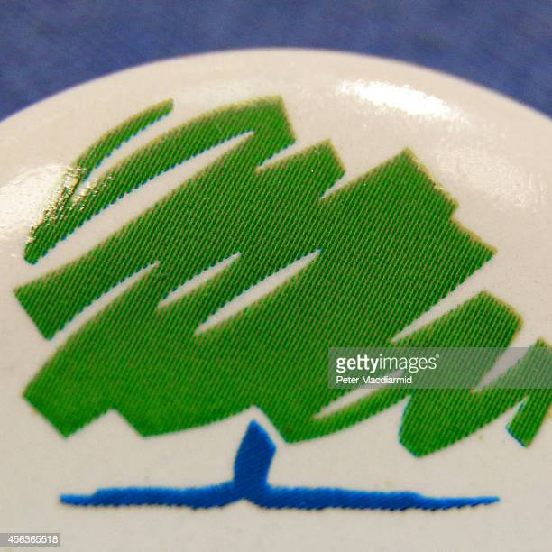 A closeup image shows a party logo on a badge at the Conservative party conference on September 29 2014 in Birmingham England The governing...