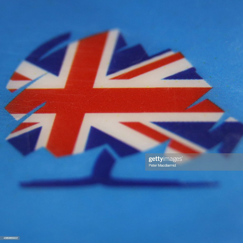 A closeup image shows a party logo on a security badge at the Conservative party conference on September 29 2014 in Birmingham England The governing...