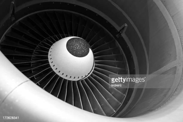 Close-up images of gray jet engine