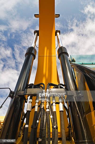 Close-up lolling up view of excavator