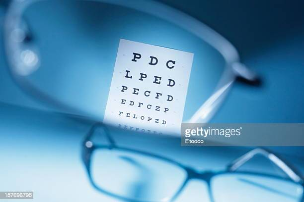 Close-up looking through glasses at an eye exam chart