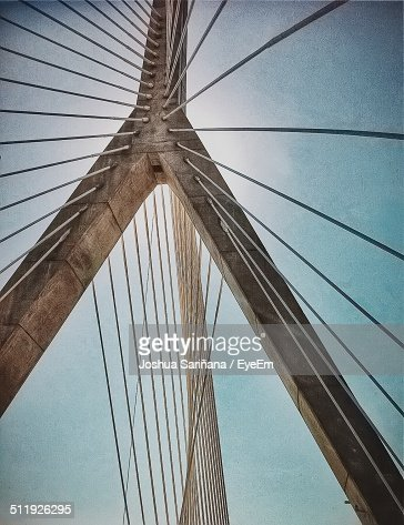 Close-up low angle view of suspension bridge cables against the sky