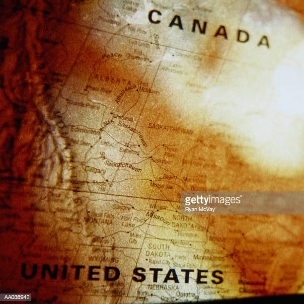Close-up Map of Canada and The United States