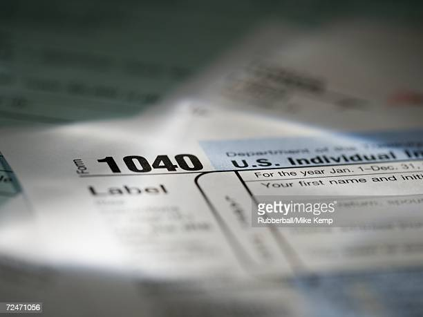 Close-up of a 1040 tax form