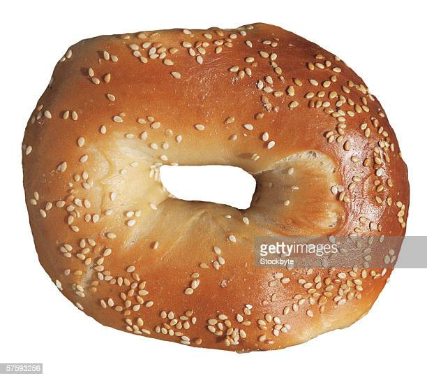 close-up of a bagel