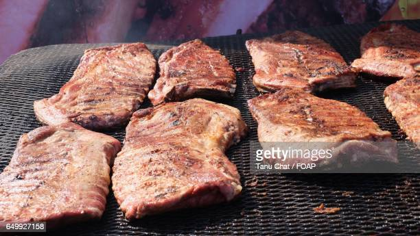 Close-up of a barbecue grilled