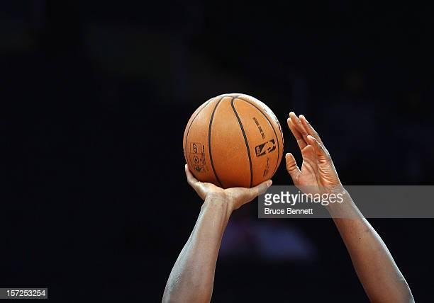 A closeup of a basketball photographed prior to the game between the New York Knicks and the Washington Wizards at Madison Square Garden on November...