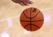 A closeup of a basketball prior to the game between the New York Knicks and the Indiana Pacers at Madison Square Garden on November 20 2013 in New...