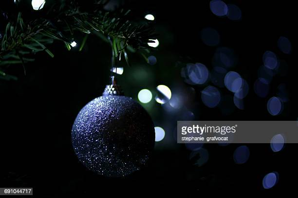 Close-up of a bauble on a Christmas tree