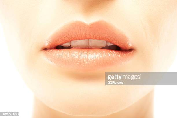 Closeup of a beautiful woman's full lips
