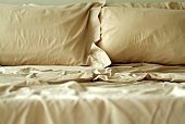 Close-up of a bed with a sheet and pillow covers