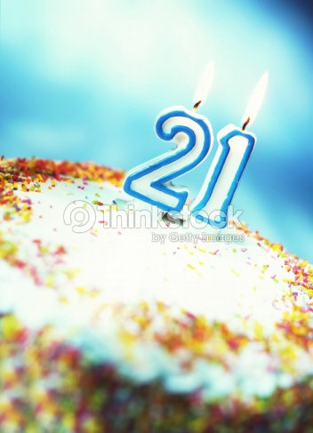 Close Up Of A Birthday Cake With 21 Candle On It Stock Photo
