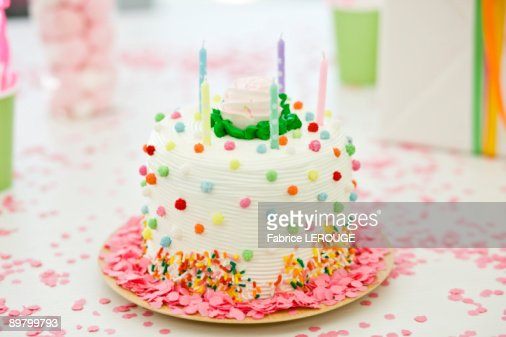 Close-up of a birthday cake with candles
