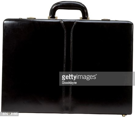 close-up of a black briefcase