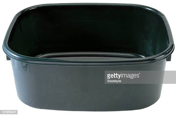 close-up of a black plastic tub