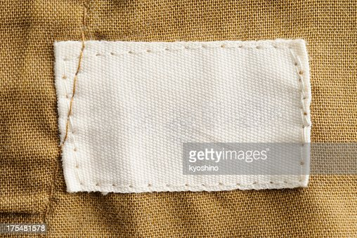 Close-up of a blank white clothing label