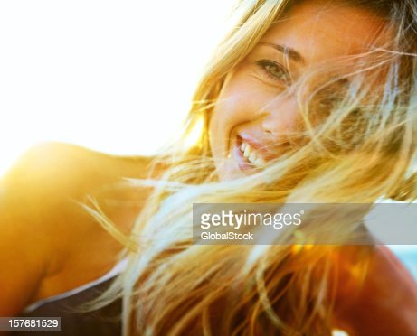 Closeup of a blond woman enjoying herself