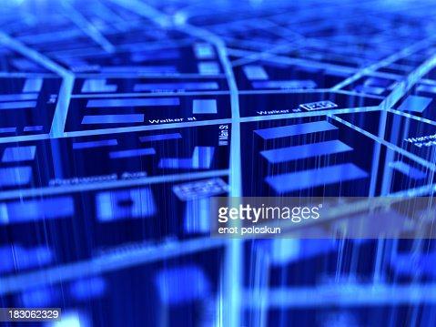 Close-up of a blue digital GPS map