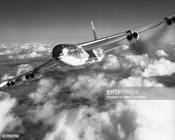 A closeup of a Boeing B52D or E Stratofortress in midflight turn over the midwestern United States in 1957