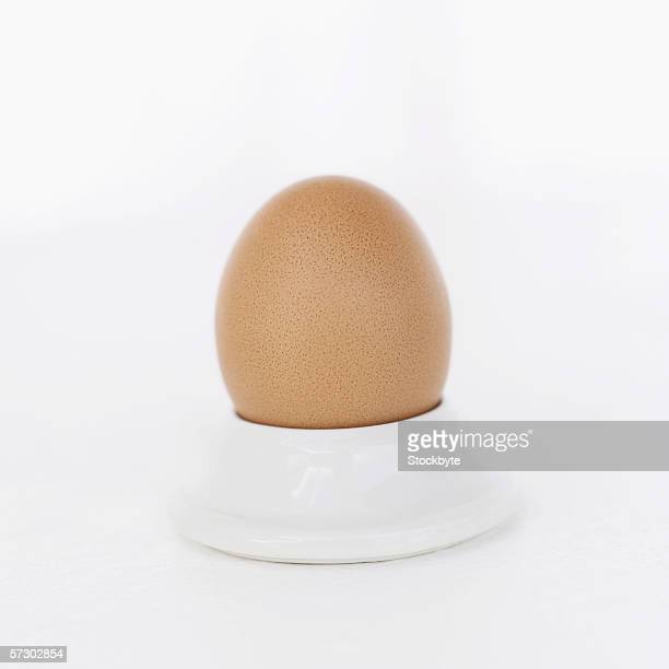 Close-up of a boiled egg in a holder