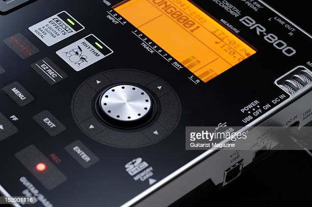 A closeup of a Boss BR800 Digital Multitracker recording device during a studio shoot for Guitarist Magazine July 26 2010