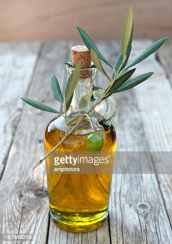 Close-up of a bottle of olive oil