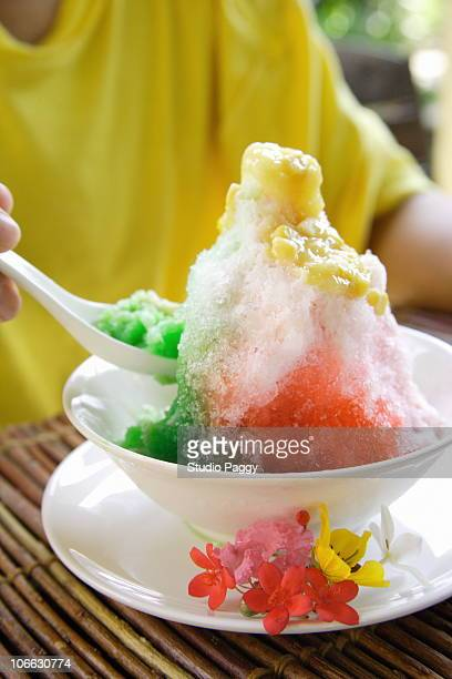 Close-up of a bowl of Asian style shaved ice
