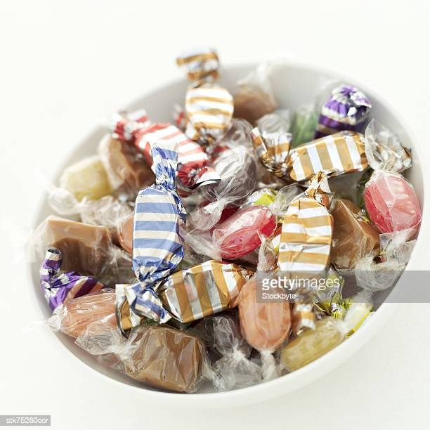 close-up of a bowl of assorted candy