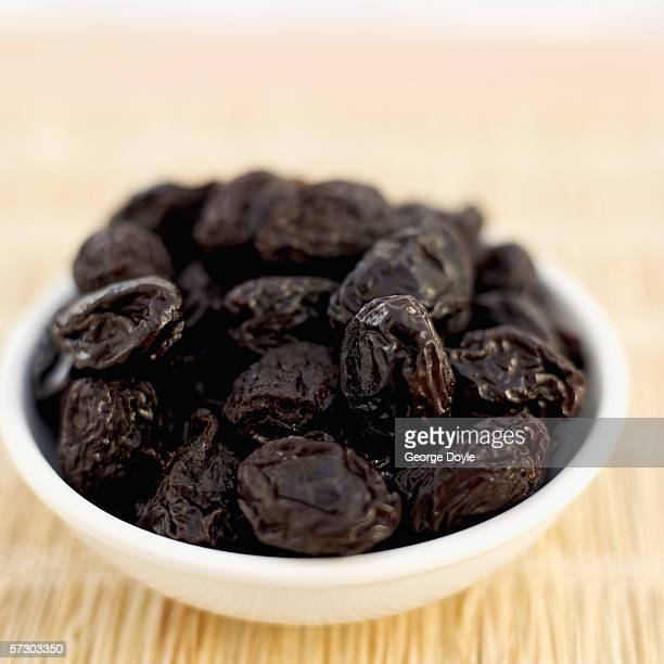Close-up of a bowl of prunes