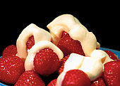 close-up of a bowl of strawberries and cream