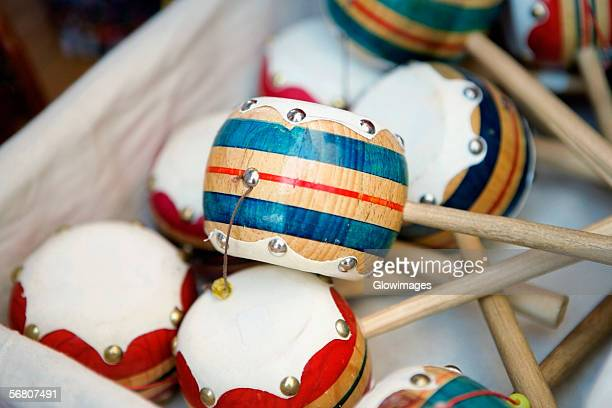 Close-up of a box of Maracas, California, USA