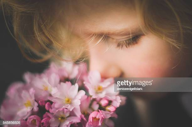 Close-up of a boy smelling flowers
