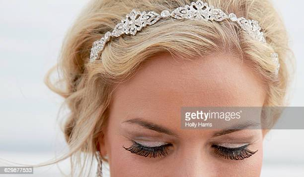 Close-up of a bride wearing a tiara