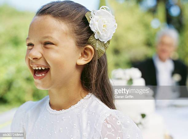 close-up of a bridesmaid laughing