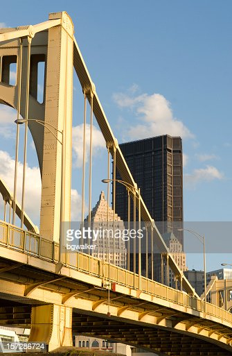 Close-up of a bridge and office buildings