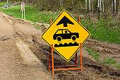 Closeup of a bumpy road ahead sign.