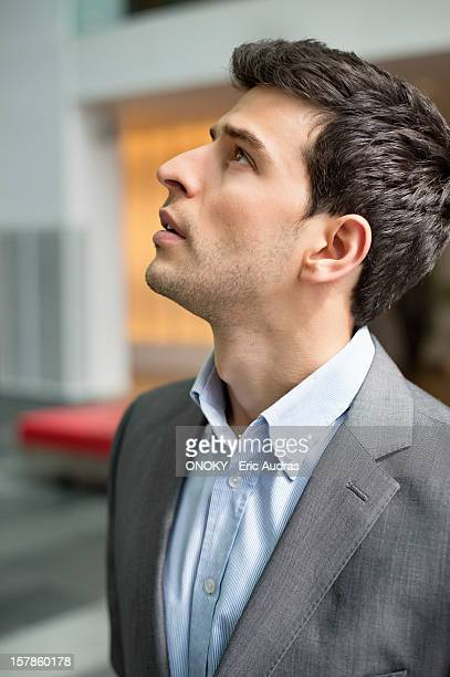 Close-up of a businessman staring