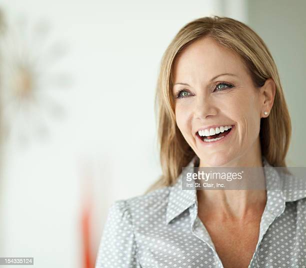 Close-up of a businesswoman laughing