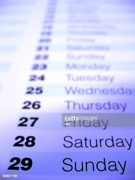 Closeup of a calendar 1