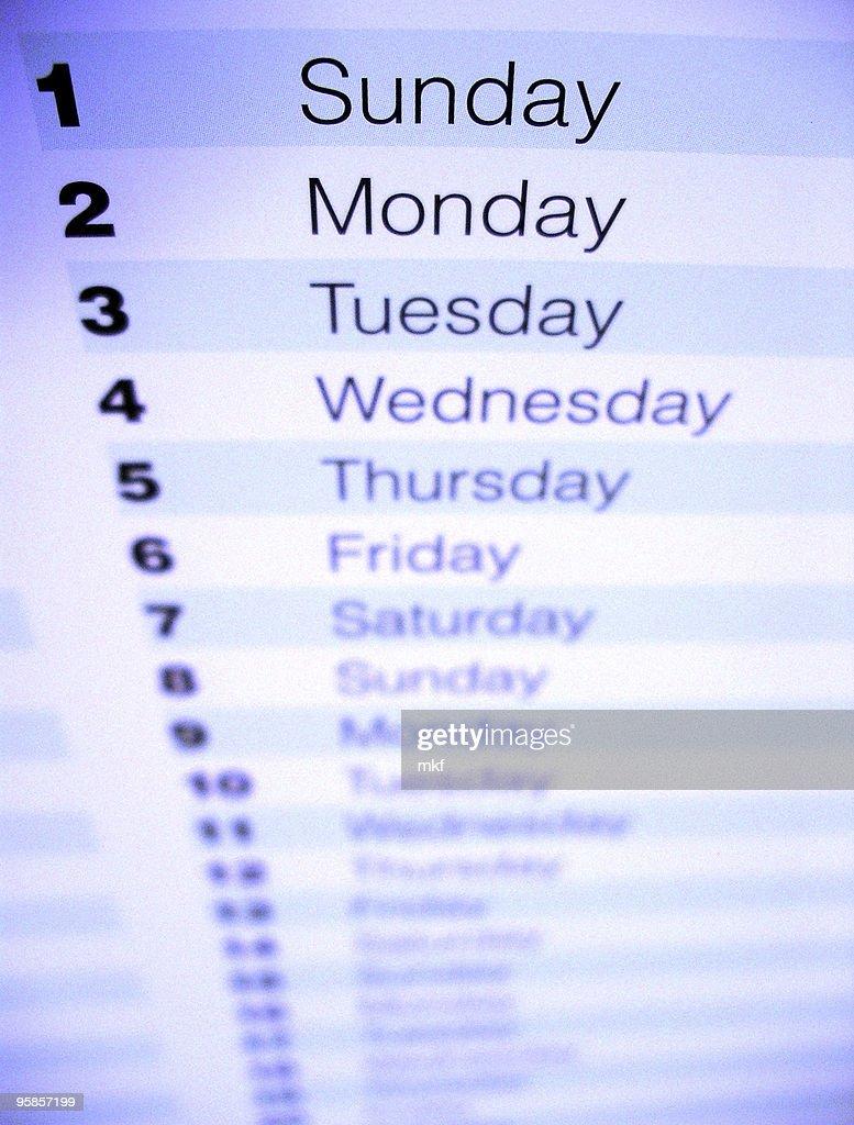 Closeup of a calendar 2